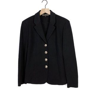 St John Basics Santana Knit Black Button Blazer 6